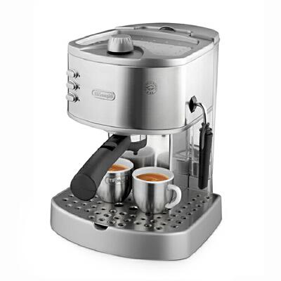 Delonghi/德龙 EC330S 意式不锈钢家用半自动咖啡机办公室 意式不锈钢家用半自动咖啡机 2合1过滤手柄