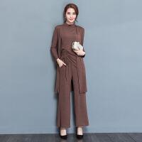 秋款连衣裙长袖中长款韩版新版修身显瘦气质三件套阔腿裤套装