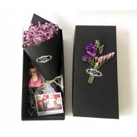 满天星干花花束迷你小礼盒礼品网红生日礼物INS 创意毕业拍照道具礼品 紫色满天星 礼盒+礼袋 干花包