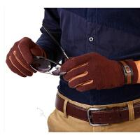 新款时尚韩版秋冬季保暖开车驾驶薄款男士羊毛羊绒手套