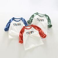 衣服春款打底衫初生男婴儿纯棉上衣春装宝宝圆领T恤春季女