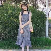 夏装女装日系软妹小清新吊带裙抹胸格子拼接荷叶边中长款连衣裙子