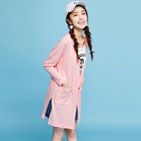 拉夏贝尔秋冬新款时尚修身背心针织开衫外套两件套套装女士20300018