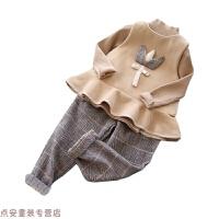 冬季英伦范女童秋冬毛呢三件套儿童马甲+针织衫+长裤套装秋冬新款