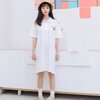 2018春夏新款韩版学院风学生POLO领宽松显瘦字母印花短袖连衣裙女 均码