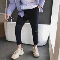 夏季裤子港风九分裤男士休闲裤韩版男裤夏季运动裤潮流9分小脚裤