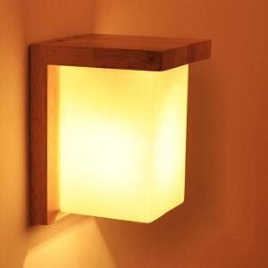 【每满100-50】实木壁灯过道阳台北欧原木风格卧室床头简约卧室床头灯 玻璃实木壁灯YX-LMD-2116