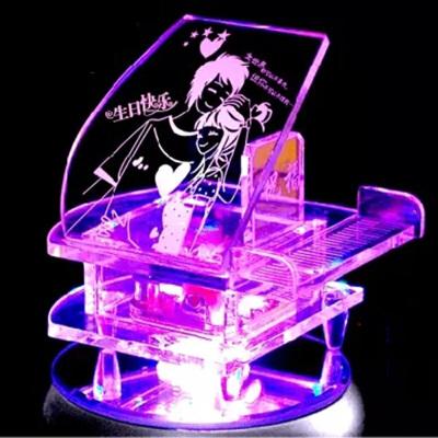 钢琴音乐盒 人造水晶八音盒刻字DIY送男女朋友情人节生日礼物 +MP3遥控炫彩灯座 发货周期:一般在付款后2-90天左右发货,具体发货时间请以与客服协商的时间为准