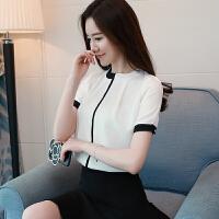 20180826191243961雪纺衬衫女夏2018新款韩版气质修身显瘦打底衬衣百搭职业短袖上衣 白色 X