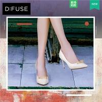 dfuse高跟鞋新款商场同款羊皮尖头超高跟单鞋女鞋DF81111164