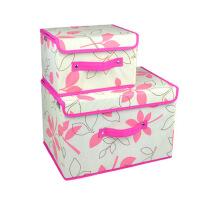 优芬收纳盒日式扣扣收纳箱大小两件套带盖收纳箱 加厚衣物收纳 整理箱收纳盒 杂物盒 叶之韵