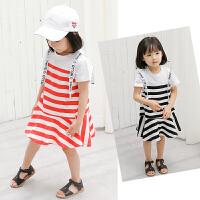 女宝宝洋气裙子女童韩版条纹连衣裙儿童拼接裙子新款夏装