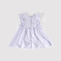 女童连衣裙夏季无袖吊带裙女孩中小童亚麻碎花公主裙