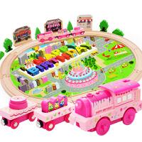 木制轨道赛车电动生日发声路轨轨道电动木质火车轨道儿童益智玩具