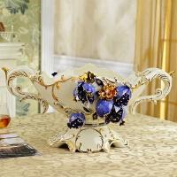 欧式果盘套装客厅家用茶几装饰品摆件陶瓷水果盘创意现代奢华礼物 蓝石榴 大号双耳(象牙黄)