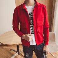新款韩版时尚纯色帅修身翻领薄S小码夹克XS号显瘦紧身潮男外套