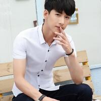 新款2018男士T恤夏季夏季短袖衬衫男士修身款纯色衬衣休闲男潮流