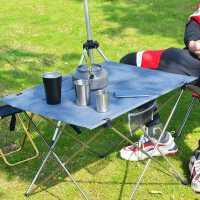 户外超轻铝合金折叠桌便携式野营烧烤休闲布桌自驾垂钓沙滩野餐桌