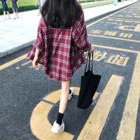 红色格子韩范chic慵懒风衬衫女秋宽松外套新款复古中长款港味上衣