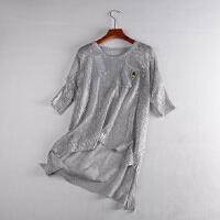13 春季时尚气质镂空短袖针织衫韩版前短后长上衣
