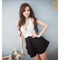 低胸连衣裙深V领露背短裙子露乳气质夏季夜场女装夜店性感小礼服 均码