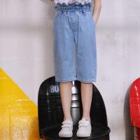 女童牛仔裤夏季新款儿童装宽松七分裤中大童中裤子薄款阔腿裤