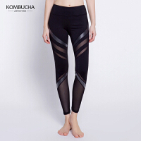 【限时狂欢价】Kombucha瑜伽健身裤2018新款女士PU皮拼纱透气速干紧身九分裤健身跳操打底长裤K0270