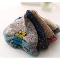 韩国混色毛线帽冬季帽子女韩版可爱尖尖帽