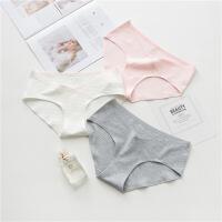 孕妇内裤棉低腰怀孕期大码无痕透气孕产妇通用裤头月子内裤 粉白灰颜色随机3条装