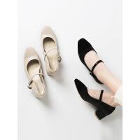 青婉田玛丽珍鞋女浅口温柔鞋一字扣单鞋女粗跟仙女的鞋子复古中跟