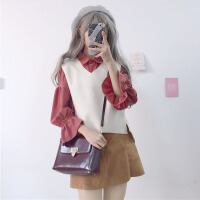 秋冬季女装韩版学生洋气喇叭袖衬衫+马甲背心时尚休闲两件套套装