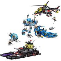 儿童拼插模型黑鲨巡洋舰启蒙积木科技时代男孩拼装玩具船