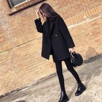 大衣女新款2018流行外套女韩版冬妮子呢子学生短款小个子毛呢 黑色加棉版 XS 80-95斤
