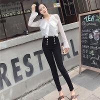 春装新款优雅气质甜美压褶衬衣+高腰双排扣小脚长裤套装女