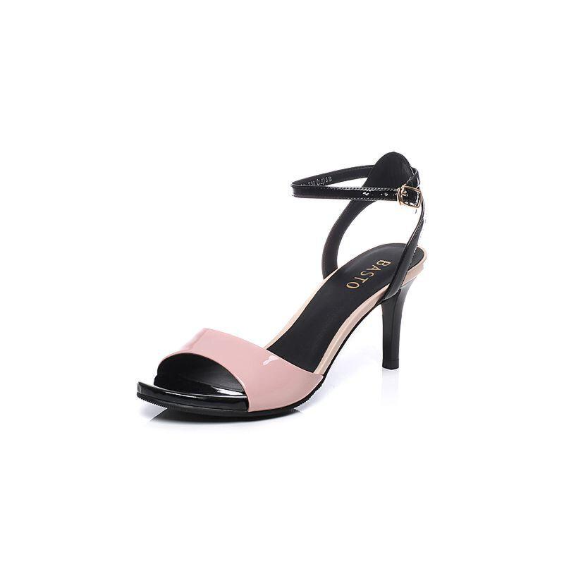 BASTO/百思图2017夏季专柜同款漆皮牛皮优雅细高跟简约女凉鞋TZ210BL7