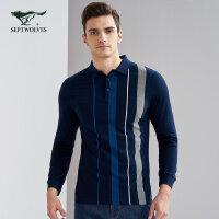 七匹狼长袖T恤春季男士时尚商务休闲竖条纹翻领长袖T恤