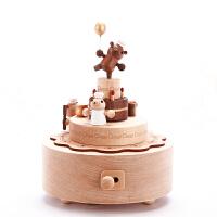 音乐盒八音盒木质送女生生日情人节礼物小熊旋转