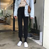牛仔裤女裤脚个性ins同款裤子韩国直筒不规则撕边街头黑色社会女