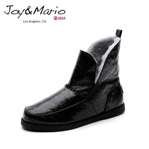 jm快乐玛丽女鞋冬季加绒雪地靴保暖棉鞋黑色平底短靴