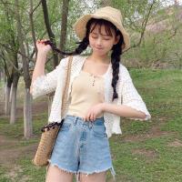 2018夏季新款女装韩版学生镂空短款防晒衣短袖外套复古小清新上衣