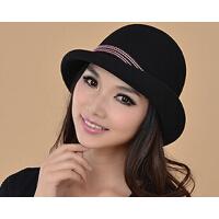 羊毛毡帽定型帽  英伦女式呢帽蝴蝶结礼帽 秋冬纯羊毛呢帽子