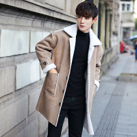 冬季男风衣呢子大衣中长款外套新款帅气韩版学生修身加绒加厚