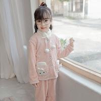 儿童睡衣女秋冬季珊瑚绒女童男孩冬季加厚款法兰绒中大童男童套装