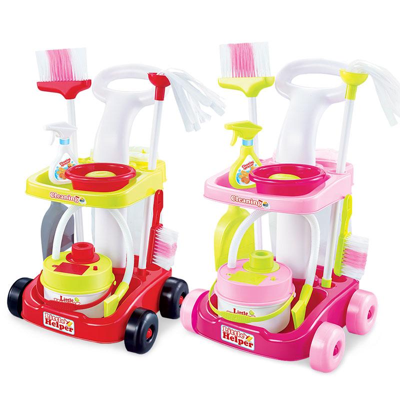 儿童过家家仿真清洁工具打扫卫生扫把拖地手推车套装女孩玩具益智玩具限时钜惠