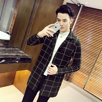 新款18秋季男士潮流大格子开衫中长款针织毛衣韩版修身青年男生外