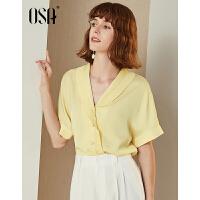 【过年3折价:84.4】OSA欧莎2019夏装新款女装 个性时髦压褶V领O风短袖衬衫