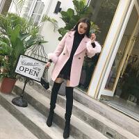 冬季新款韩版纯色西装领显瘦中长款毛呢外套百搭大衣女