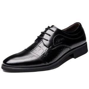 2017春季新款商务皮鞋男士压花尖头单鞋男鞋子婚鞋透气正装男皮鞋子9920BBS支持