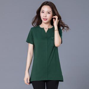 加肥加大码女装夏季新款200斤胖mm中长款宽松显瘦t恤JME068-6897