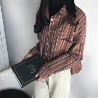 2018春装韩版宽松中长款条纹开衫衬衣复古港风长袖衬衫休闲上衣女